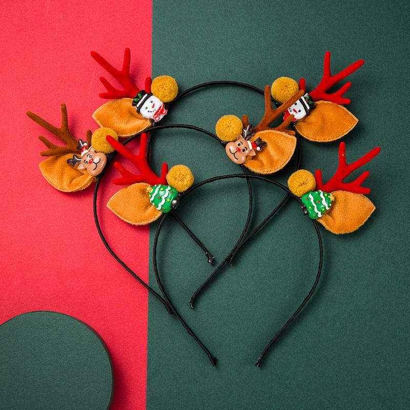 Flannel Christmas Snowman Antlers Tree Headband  NHLN280232