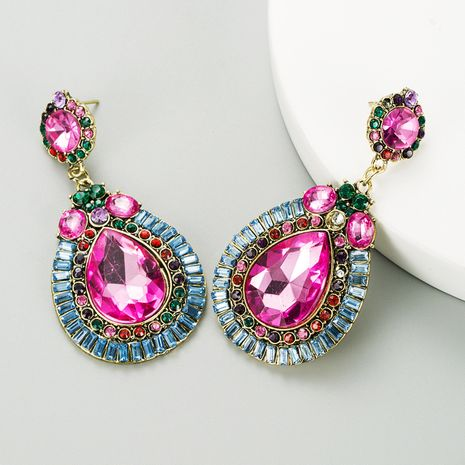 fashion drop-shaped gemstone alloy diamond exaggerated earrings NHLN280236's discount tags