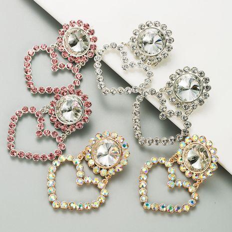 boucles d'oreilles en alliage de diamant en forme de coeur fleur exagérée NHLN280238's discount tags