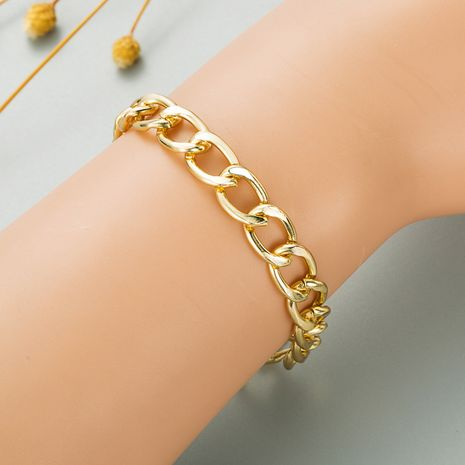 Fashion simple rectangular bamboo gold thick chain bracelet  NHLN280261's discount tags