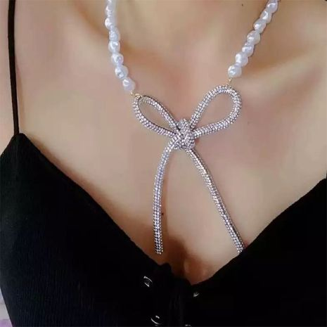 exaggerated bow pearl full diamond pendant necklace NHLN280266's discount tags