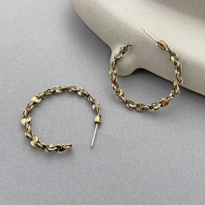 letter C retro irregular thread earrings NHPJ280370