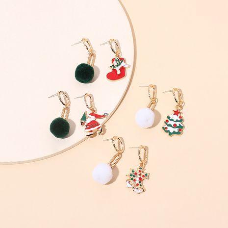 asymmetrical fur ball Christmas tassel retro earrings  NHRN280388's discount tags