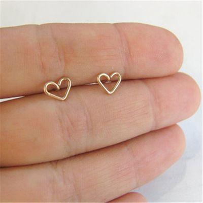 Boucles d39oreilles creuses simples en argent et or en alliage de coeur de pche NHMO280398