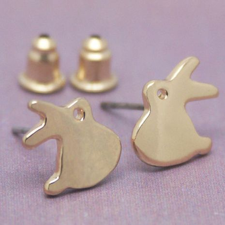 cute  alloy plating gold silver  rabbit earrings NHMO280400's discount tags