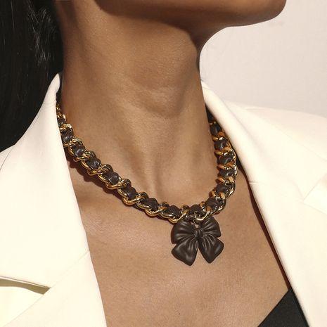 collar de lazo corto con costuras de cuero retro de metal exagerado NHKQ280418's discount tags