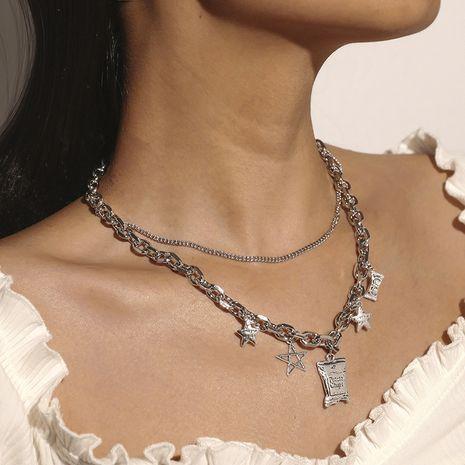 Collar de letra de estrella de cinco puntas retro de doble capa de moda NHKQ280423's discount tags