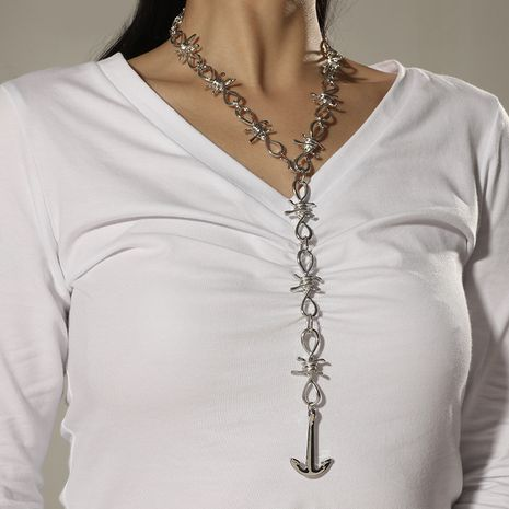 fashion exaggerated thorns thick chain boat anchor pendant necklace NHKQ280436's discount tags