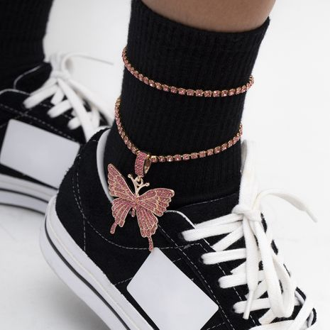 fashion diamond multi-layer   butterfly  anklet NHXR280444's discount tags