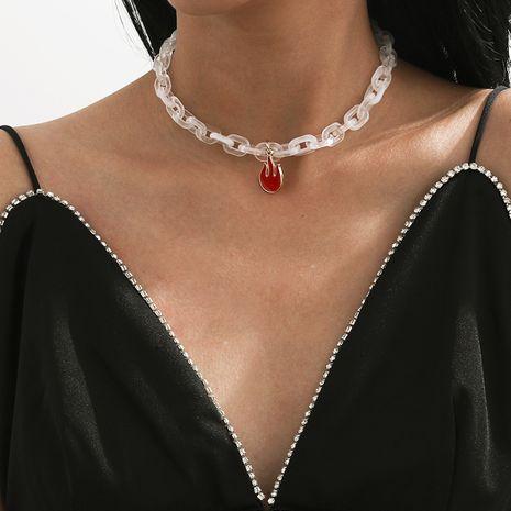 collar de llama roja acrílico simple NHXR280453's discount tags