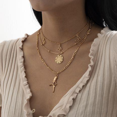 conjunto simple de collar de aleación de rosa con borla de mariposa NHXR280458's discount tags