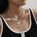 bead retro round pendant threepiece alloy necklace NHXR280464