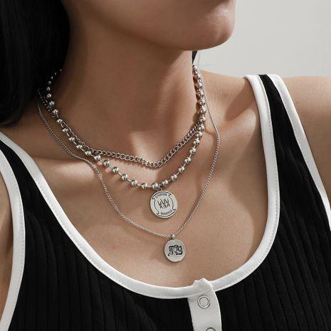 collar de aleación de tres piezas con colgante redondo retro de cuentas NHXR280464's discount tags