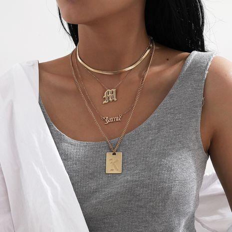 conjunto de collar colgante de letra de moda exagerada de borla multicapa NHXR280468's discount tags