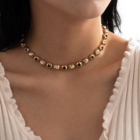 collar de diamantes verde oscuro simple de moda NHXR280474's discount tags