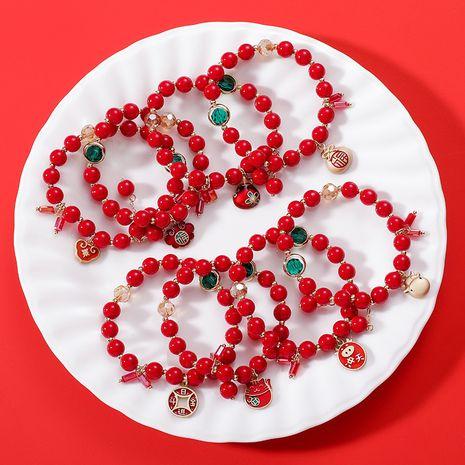 Bracelet perlé rouge Bracelet zodiaque simple année Ox NHMS280482's discount tags