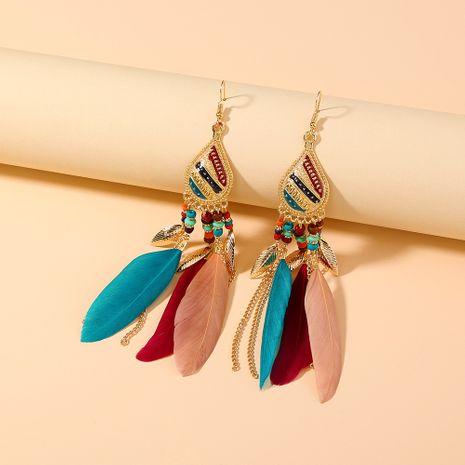 retro palace bohemian feather long tassel earrings NHAN280491's discount tags