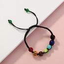 multicolor seven chakra volcanic stone woven bracelet  NHAN280494