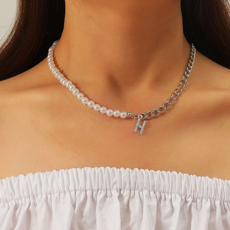 Collar de perlas asimétricas bohemias con letras NHLA280497's discount tags