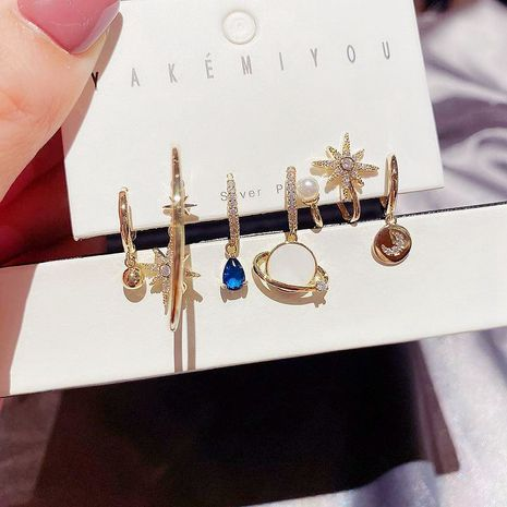 blue diamond water drop Saturn moon earrings 6-piece set NHCG280553's discount tags