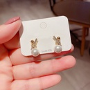 S925 Silver Needle Zircon Microinlaid Knotted Pearl Earrings NHCG280570