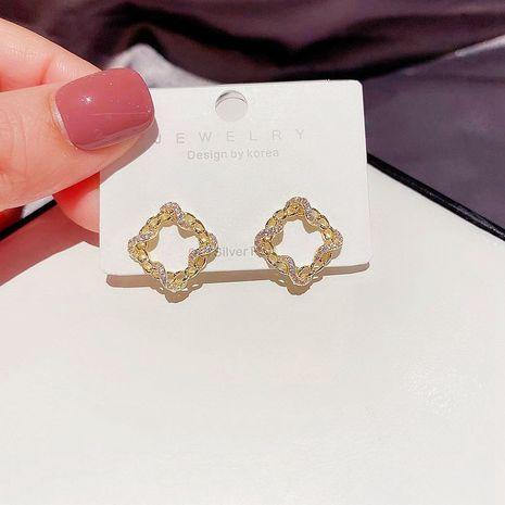 Korea S925 Silber Nadel Zirkon mikro-eingelegte Wicklung quadratische geometrische Ohrringe NHCG280574's discount tags