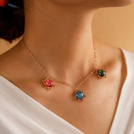 Geometric Alloy Colorful Planet Retro Star  Necklace  NHGY281749's discount tags