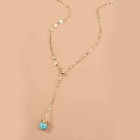 Collar de turquesa natural largo simple en forma de Y de Corea NHAN280087's discount tags