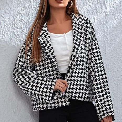 plus size houndstooth loose casual jacket NHEK281253's discount tags