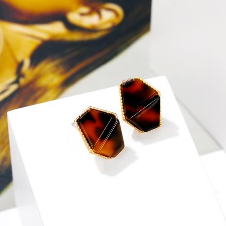 geometric irregular acrylic leopard print earrings NHYI289653's discount tags