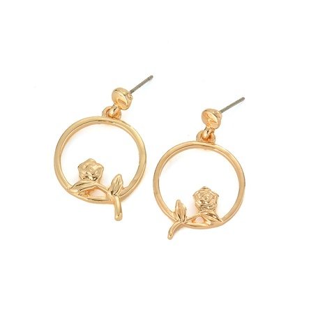 wholesale small rose circle earrings  NHOA289655's discount tags