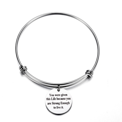 stainless steel lettering round pendant bracelet NHOA289659's discount tags