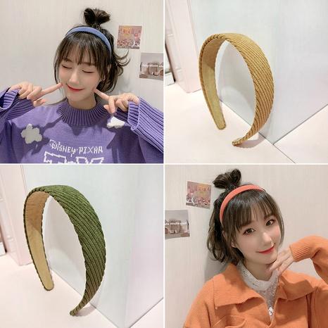 corduroy  retro wide-brimmed fabric headband  NHUX289686's discount tags