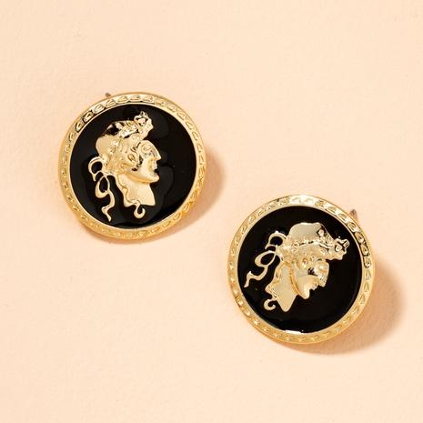 retro British style  portrait badge border simple earrings  NHAI289730's discount tags