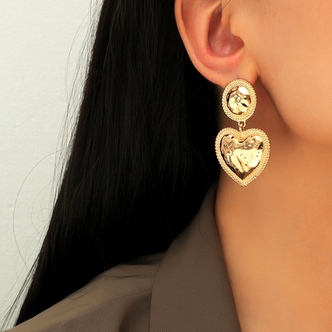 Simple alloy heart-shaped pendant earrings  NHKQ289740's discount tags