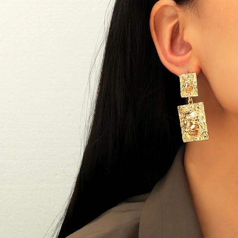 creative metal texture lion head pendant earrings NHKQ289741's discount tags