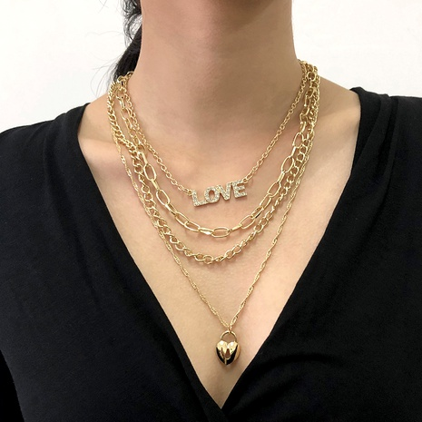 multi-layer diamond letter necklace NHMD289762's discount tags
