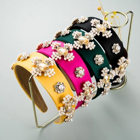nueva diadema de perlas cruzadas de ala ancha de tela de color sólido barroco NHLN289766's discount tags