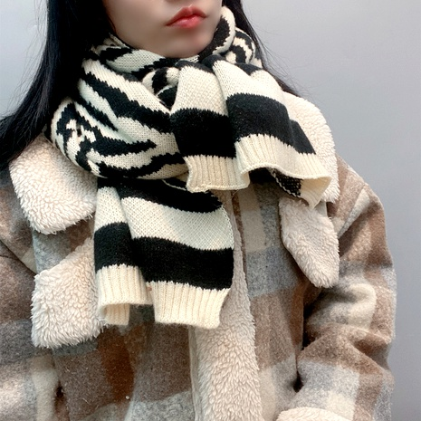 knitted striped scarf NHFS289873's discount tags