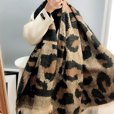 double-sided leopard print scarf  NHFS289880's discount tags