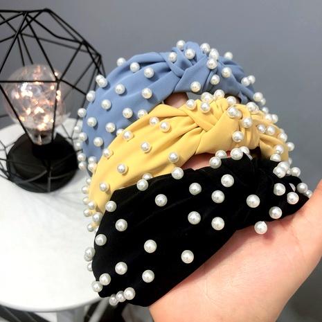 Diadema de perlas de color puro de tela anudada con perlas de uñas NHFS289884's discount tags
