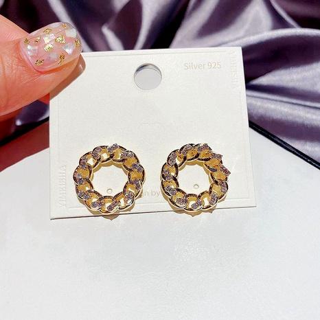 Mode eingelegte Zirkon Metall Ohrringe NHCG289922's discount tags