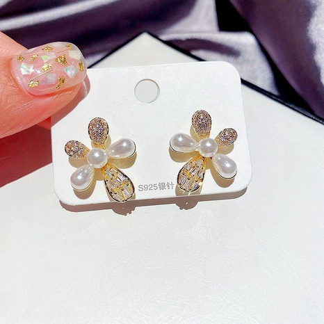 s925 Silver Needles Micro-inlaid Zircon Water Drops Pearl Flower Earrings  NHCG289943's discount tags