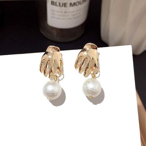 pearl cute small palm earrings  NHFT289953's discount tags