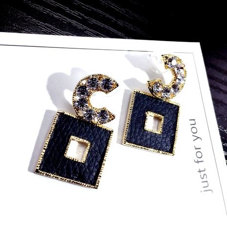 C-word fashionable square leather retro earrings NHFT289963's discount tags