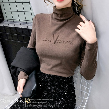 thickening half high collar embroidered letter bottoming shirt  NHEK290164's discount tags