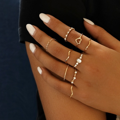 simple heart wave 9-piece rings NHLL290008's discount tags