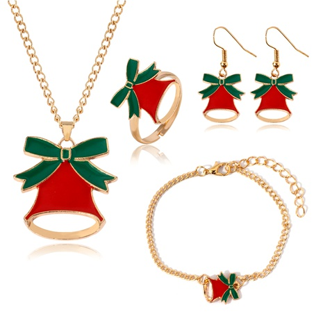 Christmas  simple ring fashion bell necklace set  NHLL290032's discount tags