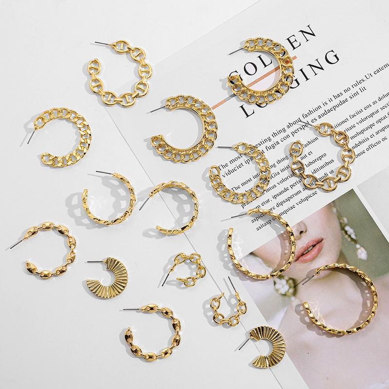 women's alloy geometric shape metal flat chain earrings NHLL290039