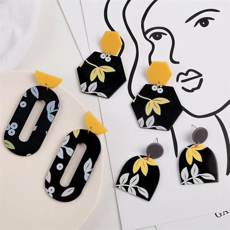 Bohemian simple printing leaf resin earrings NHLA290041's discount tags